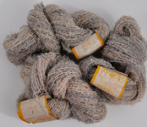 300g Collinette Hand dyed mohair boucle style double knit champagne melange